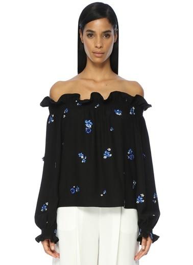 Academia Kayık Yaka Çiçekli Bluz Siyah